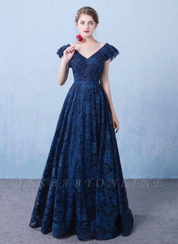 Elegant Dark Navy Prom Dresses Lace Beading V-Neck Ruffles Sleeves A-line Evening Gowns