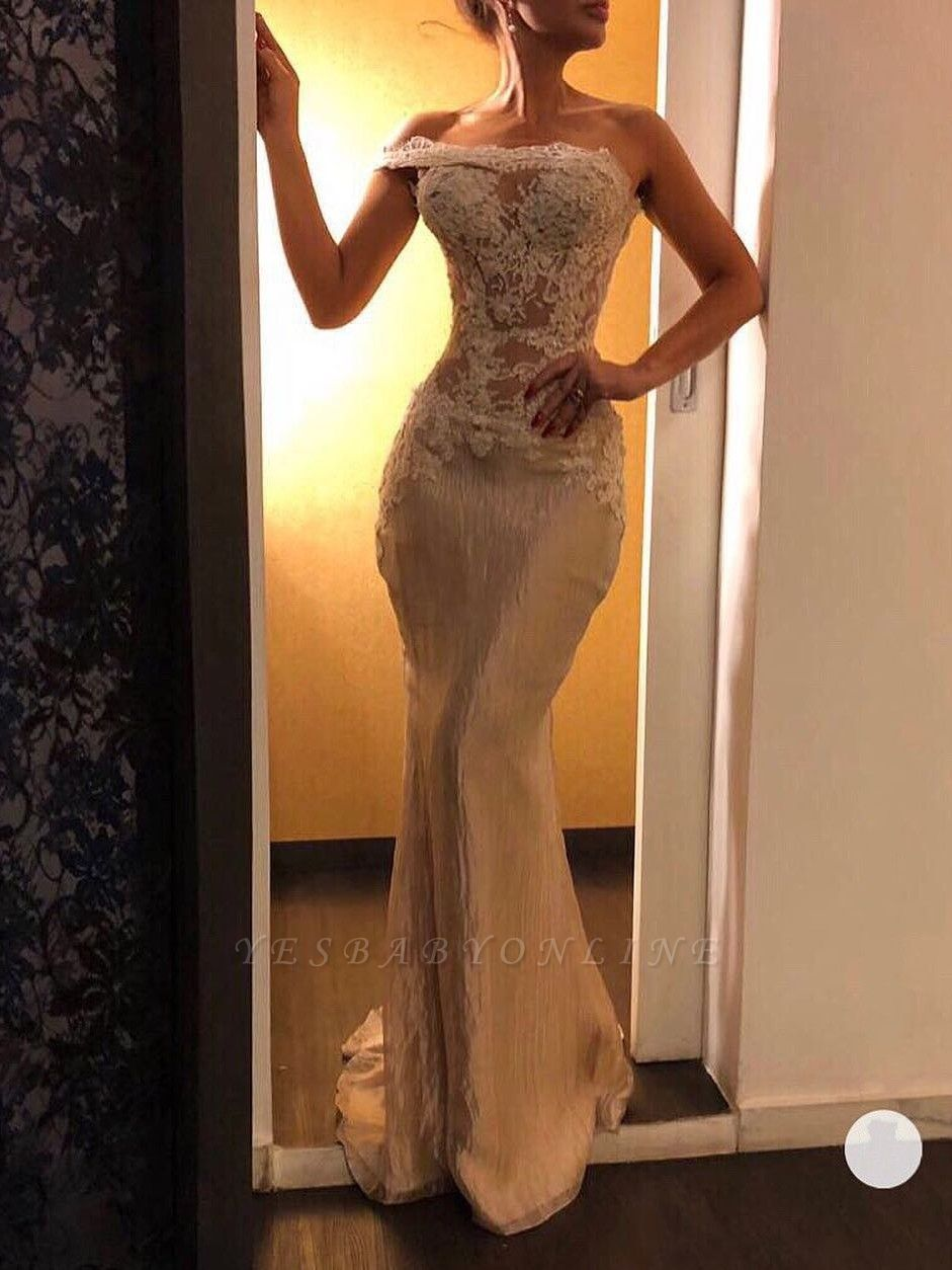 Elegant One-Shoulder Mermaid Prom Dresses | Bodice Sleeveless Evening Dresses
