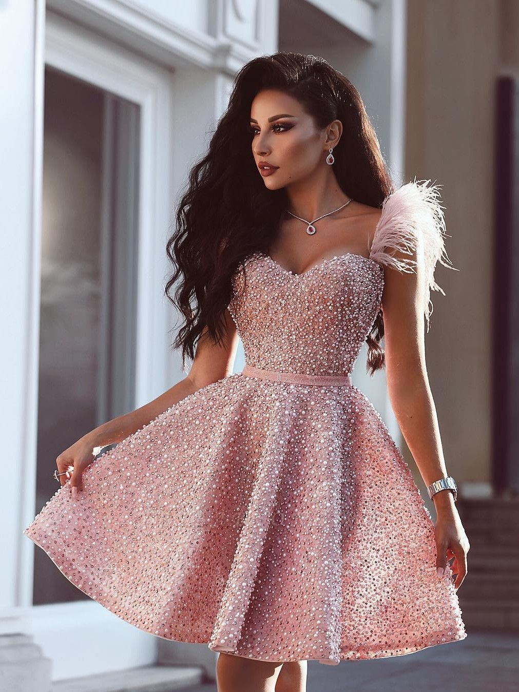 A-Line Beading Homecoming Dress | Luxury Feather Pink Party Dress