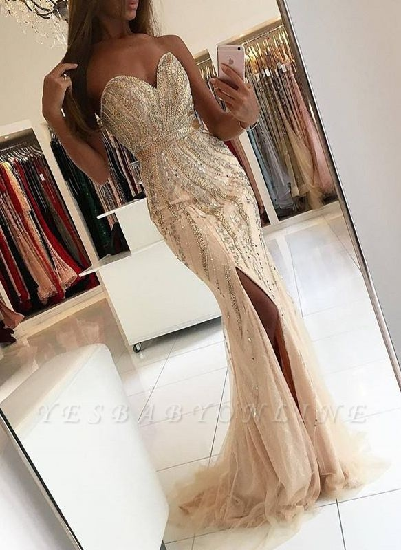 Elegant Sleeveless Side Slit Evening Gowns | Sweetheart Crystals Mermaid Prom Dresses