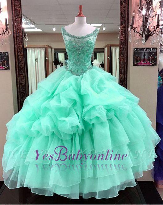 Ruffles Scoop Quinceanera Mint Gown Beading Green Sleeveless Dresses Ball Long Cascading Prom Dresses