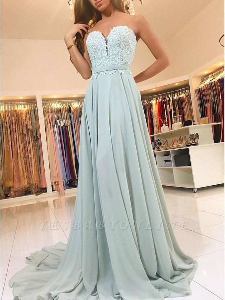 Elegant Sweetheart Prom Dresses | A-Line Lace Appliques Chiffon Evening Dresses