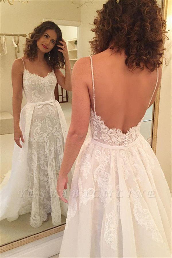 Appliques Spaghetti-Straps Backless Sexy Sheath Wedding Dresses