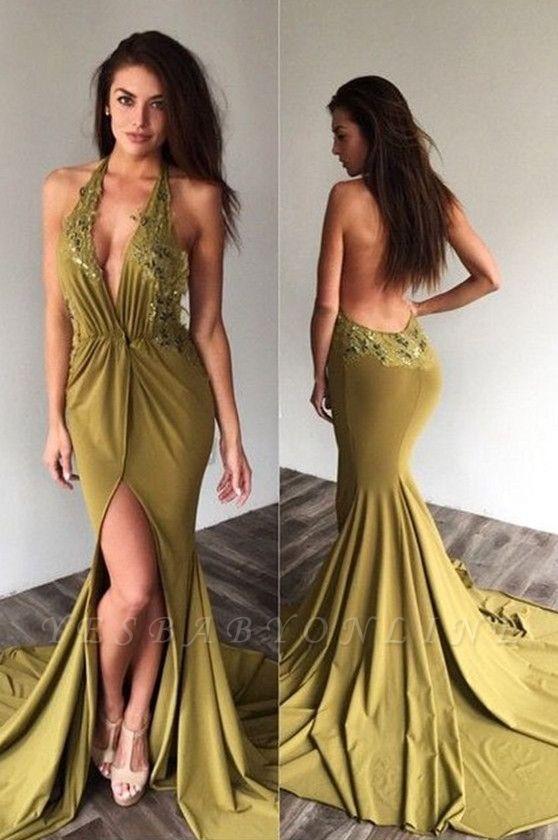 Deep-V-Neck Halter Backless Sexy Side-Slit Appliques Prom Dresses
