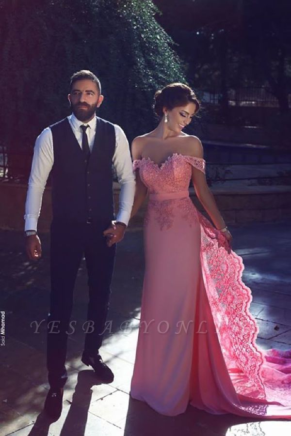 Long Candy-Pink A-Line Natural Off-the-Shoulder Lace Lace Prom Dresses