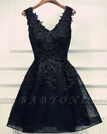 Black Lace Beaded Homecoming Dresses | A-line Short Prom Dresses