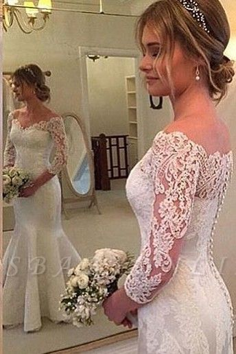 3/4-Length-Sleeves Off-the-shoulder Mermaid Button Wedding Dress