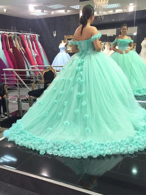 Off-The-Shoulder Mint-Green Ball-Gown Rose-Flowers Cloud Prom Dresses