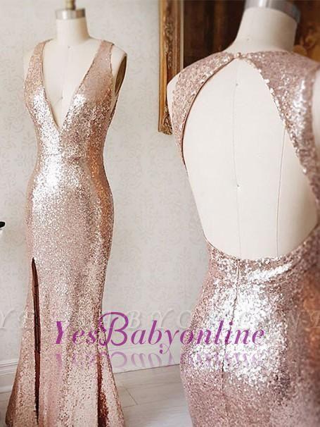Split-Front Sequin Sheath Beading Backless Deep-v-neck Prom Dress