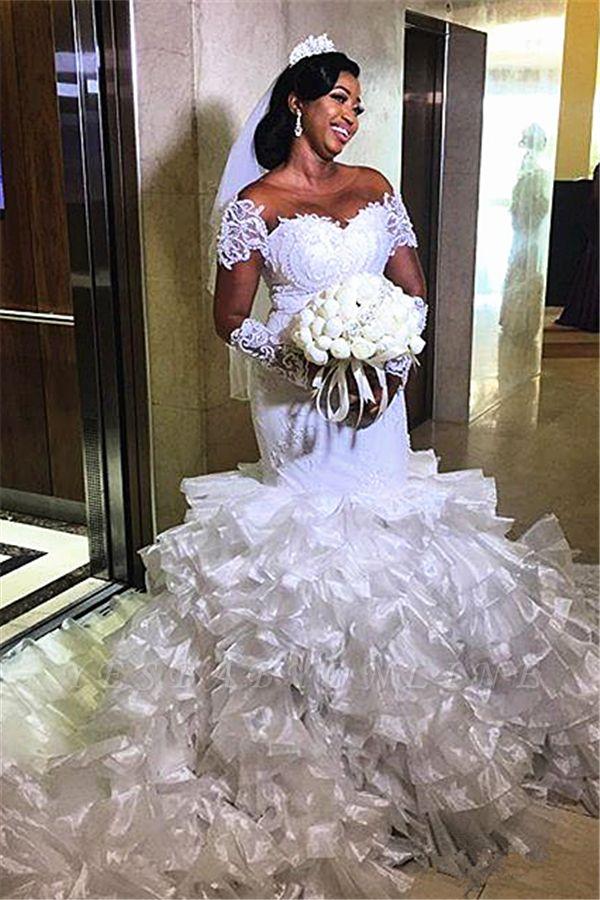 Gorgeous Jewel Cap Sleeve Applique Pearls Ruffles Mermaid Wedding Dresses