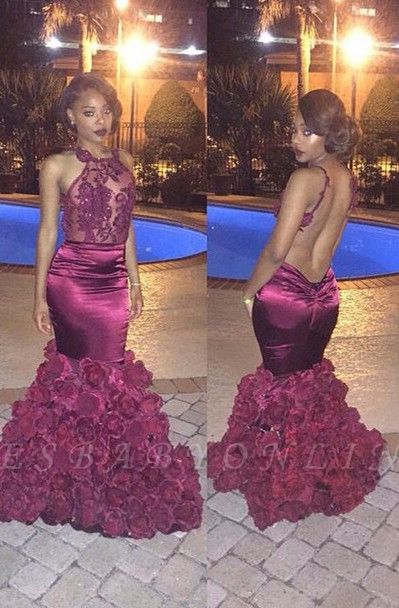 Sexy Backless Mermaid Prom Dresses Appliques Sheer Neck Evening Gowns with Flowers