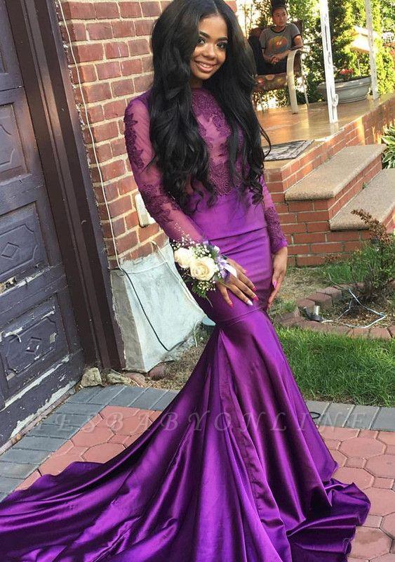 Long Sleeves Lace Mermaid Purple Wedding Dress