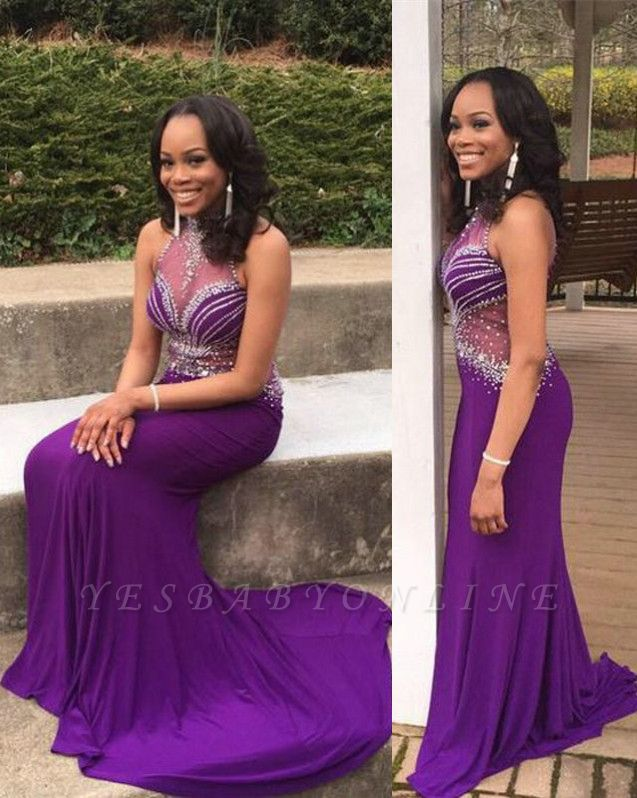 Mermaid Glamorous Crystal Halter Sleeveless Grape Prom Dress