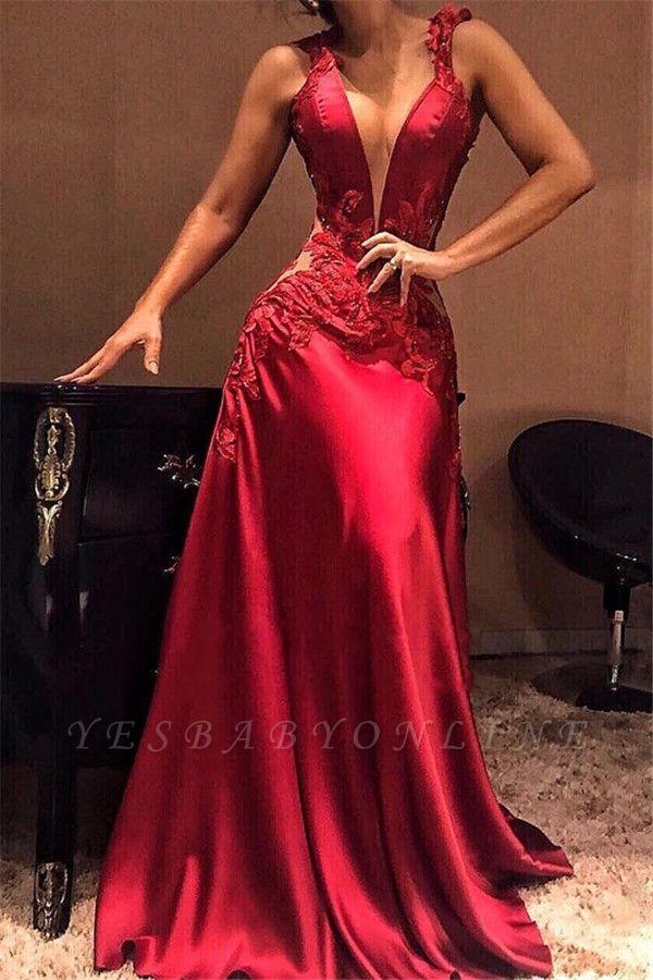 Sexy Burgundy Mermaid Evening Dresses | Appliques Deep V-Neck Prom Dresses
