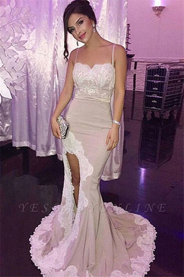 Mermaid Appliques Spaghetti-Straps Side-Slit Glamorous Prom Dress