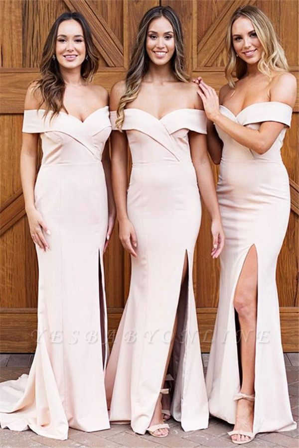 Pale Pink Sexy Cheap Bridesmaid Dresses | Off The Shoulder Side Slit Formal Evening Dress