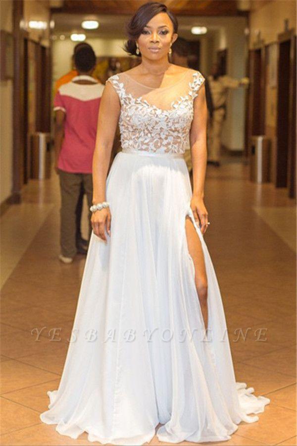 Lace Appliques Sleeveless Sexy Evening Dresses 2019   A-line Chiffon Side Split Cheap Bridesmaid Dresses