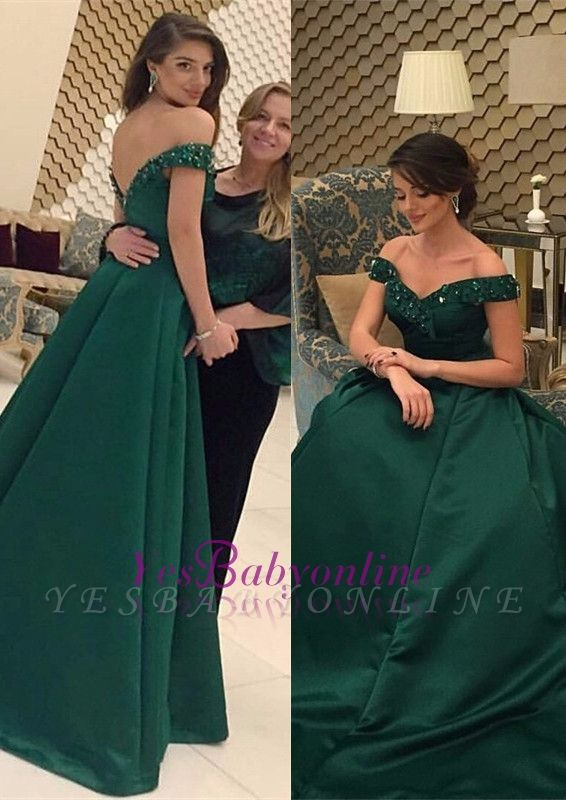 Glamorous Green Beads Off-the-Shoulder Evening Dress