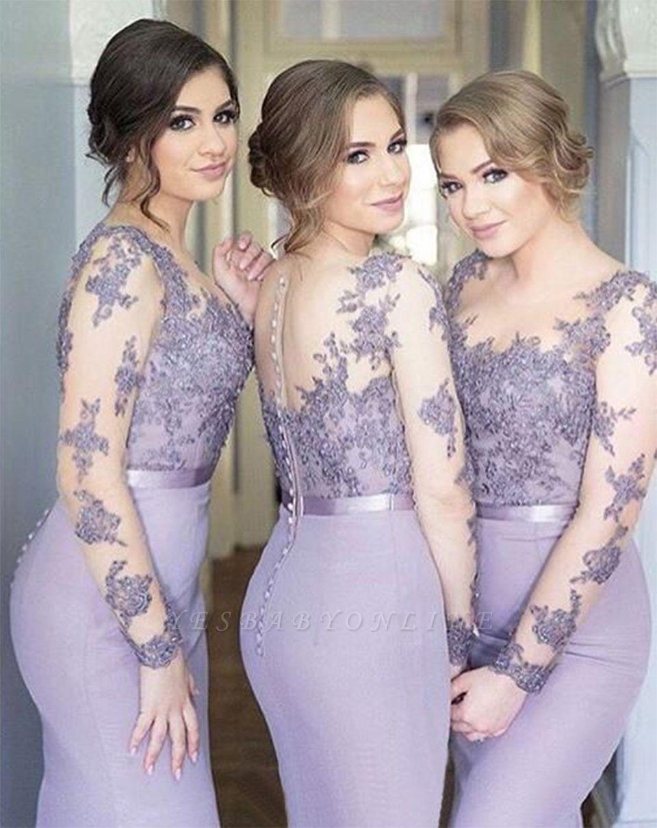 Lavender Long-Sleeve Lace Appliques Popular Cheap Mermaid Buttons Illusion Bridesmaid Dress
