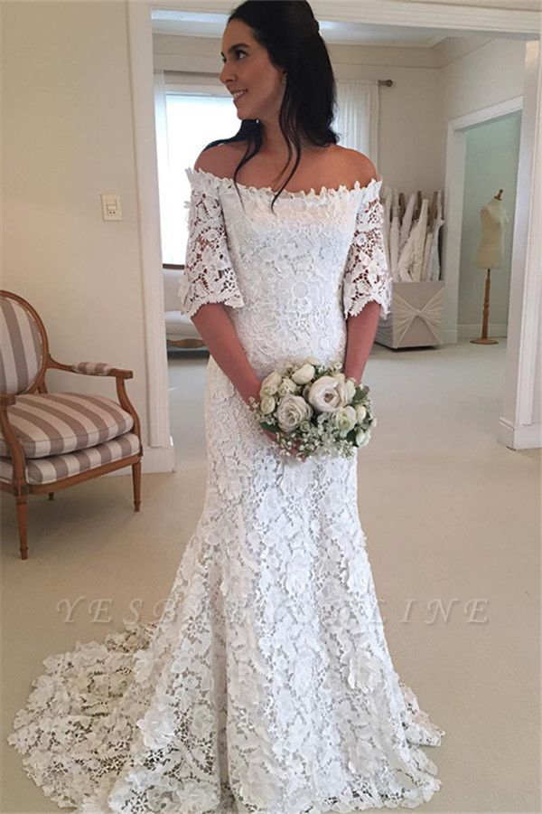 Stunning Half-Sleeves Simple Off-the-Shouler Lace Wedding Dress