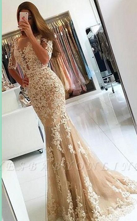 Champagne Lace Mermaid Prom Dresses Half-Long Sleeves Open Back Evening Dresses