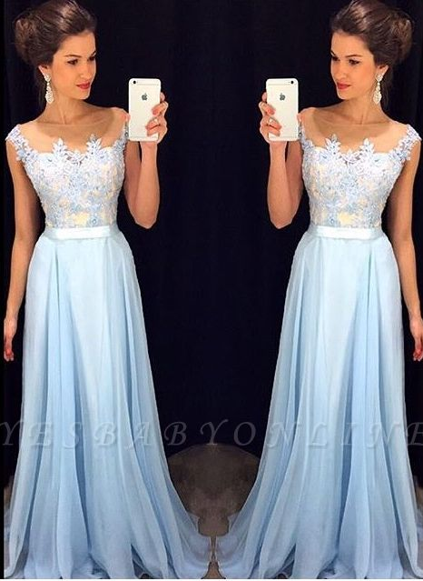 Appliques A-line Long Prom Dresses   Cap Sleeves Evening Gowns with Sash
