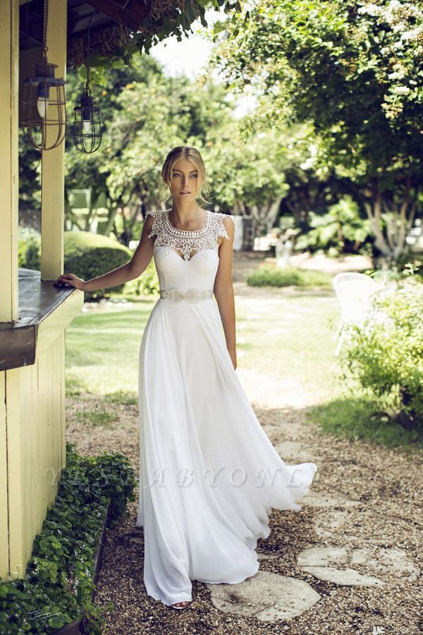 Beach Chiffon Sleeveless Courtn Train  Glamorous Summer Lace Wedding Dress