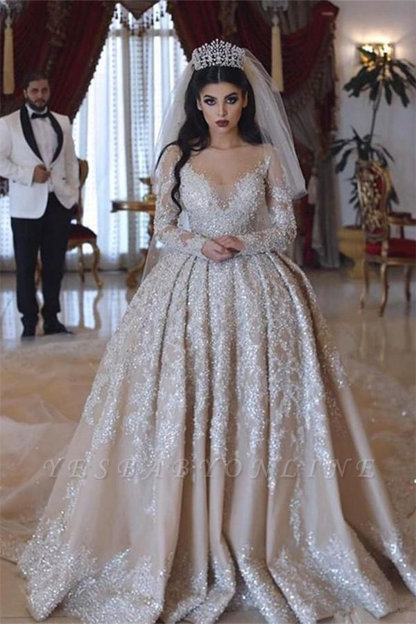 V-neck Lace Appliques Ball Gown Wedding Dresses with Long Sleeves