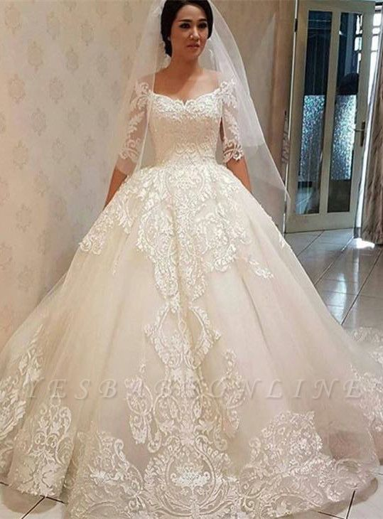 Glamorous  Off-the-shoulder Half Sleeve Puffy Lace Wedding Dress