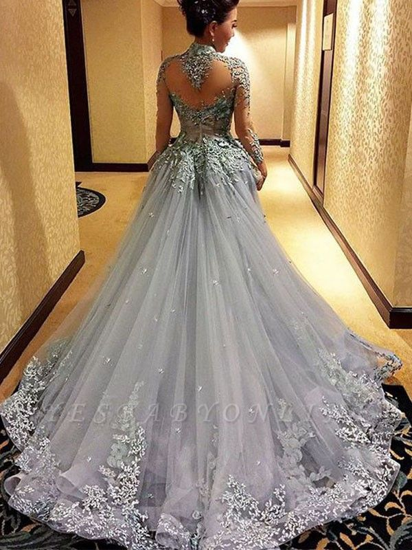 Grey Long Sleeves Pageant Dresses High Neck Appliques Modest Prom Dresses
