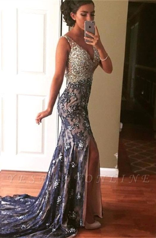 Straps Sleeveless Mermaid Crystals Modest Front-Split Evening Gown