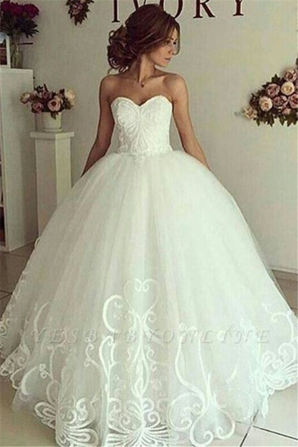 Sweetheart Glamorous Appliques Ball-Gown Wedding Dresses