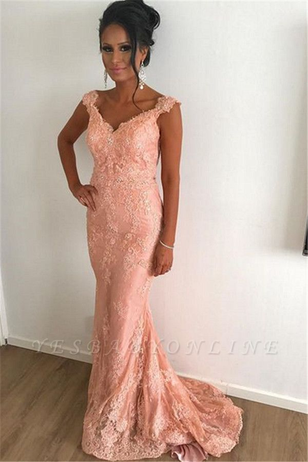 Straps Lace Coral Pink Evening Dresses Cheap | Sleeveless Sheath Sweep Train 2019 Prom Dresses Sexy