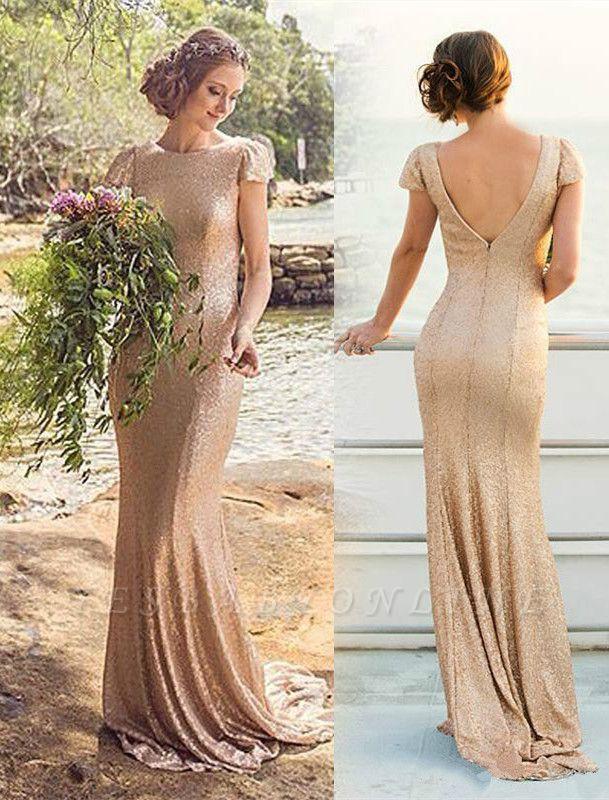 Long Short-Sleeve Zipper Elegant Sequined Bridesmaid Dresses