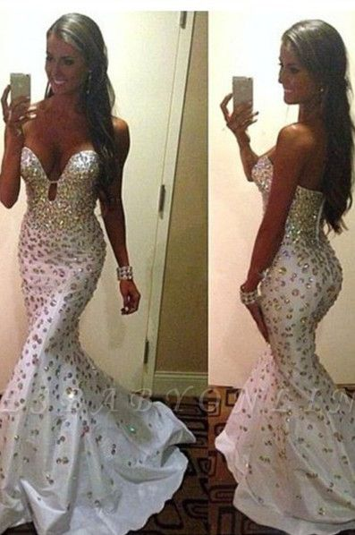 Crystals Zipper Sweep-Train Gorgeous Sweetheart Mermaid Sleeveless Prom Dress
