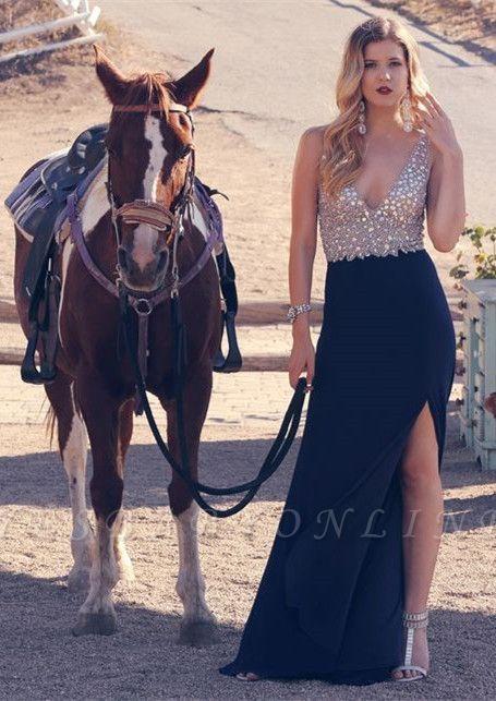 Split Sexy Long Crystal Sleeveless V-neck A-line Prom Dress