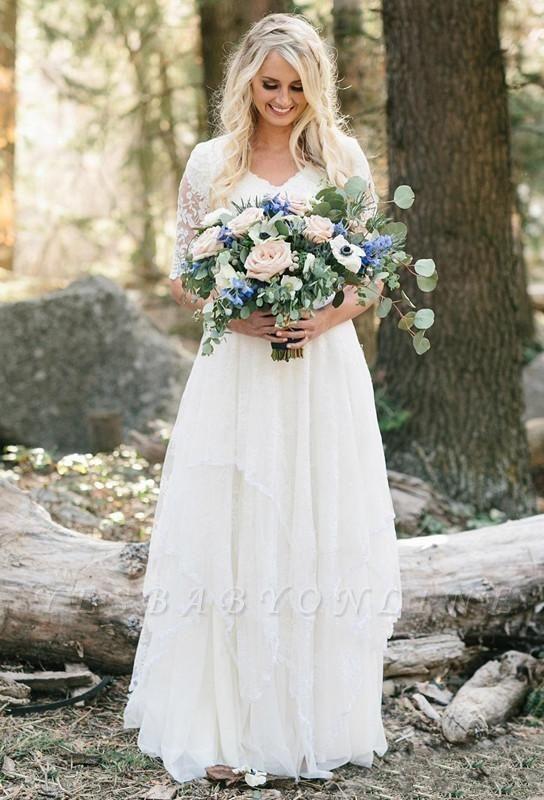 A-Line Chiffon Lace V-Neck Half Sleeves Wedding Dress