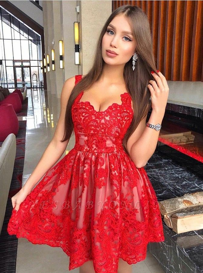 A-Line Red Lace Homecoming Dresses   Spaghetti Straps Mini Cocktail Dresses