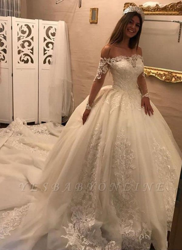Off-the-shoulder Lace Appliques Wedding Dresses | Ball Gown Long Sleeves Bridal Gowns