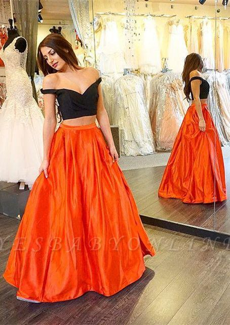 Long A-line Two-Piece Off-the-shoulder Sexy Prom Dress