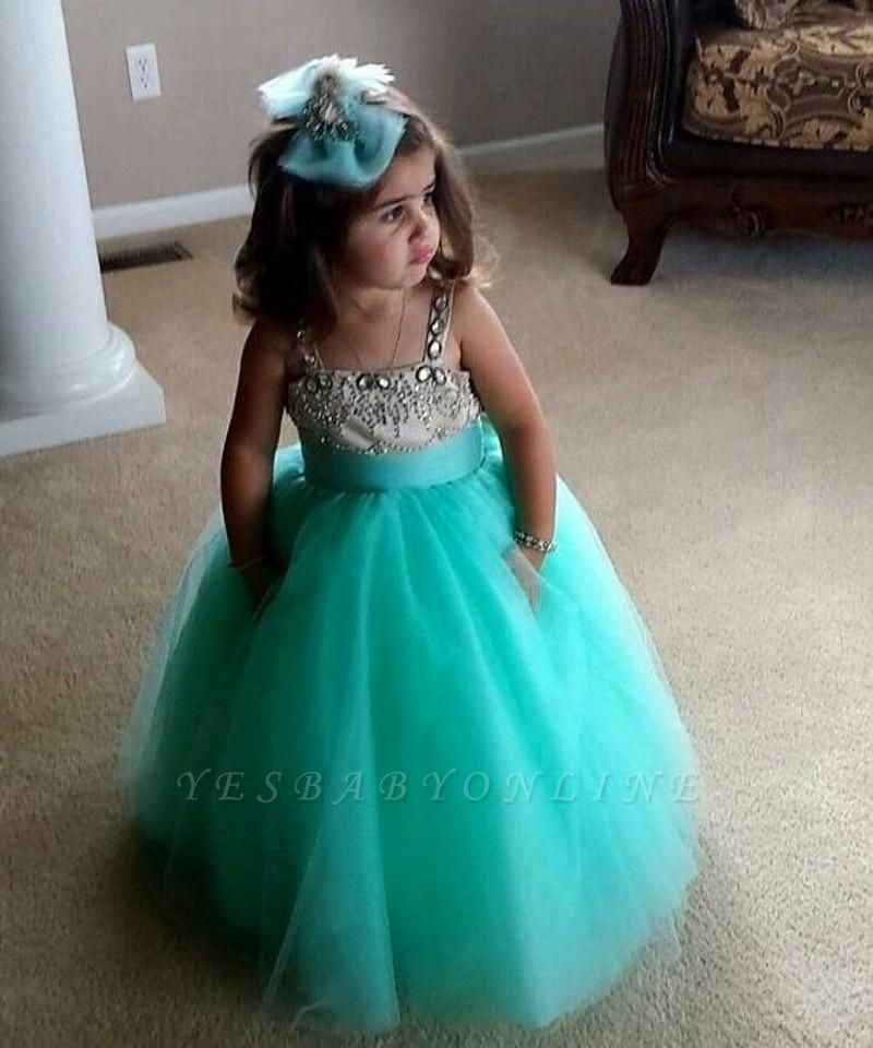 Spaghetti Straps Crystal Sweet Flower Girl Dresses | Beading Draped Lovely Tulle Pageant Dress