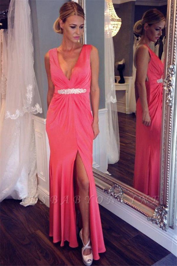 Sexy V-neck Back Evening Dresses | Sheer  Sleeveless Prom Dresses
