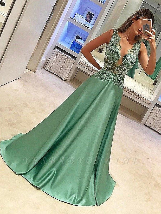 Sparkly Sheer Neck A-Line Prom Dresses | llusion Bodice Beading Long Evening Dresses