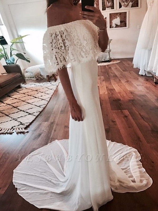 Chic Off-the-Shoulder Wedding Dresses | Glamorous Mermaid Long Bridal Gowns