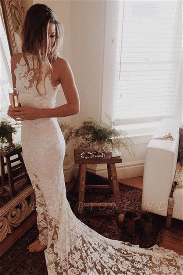 Glamorous High Neckline Court Train Mermaid Lace Wedding Dresses