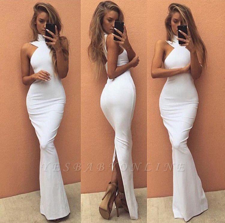 2019 White Mermaid Prom Dress High Neck Back Slit Simple Evening Dresses
