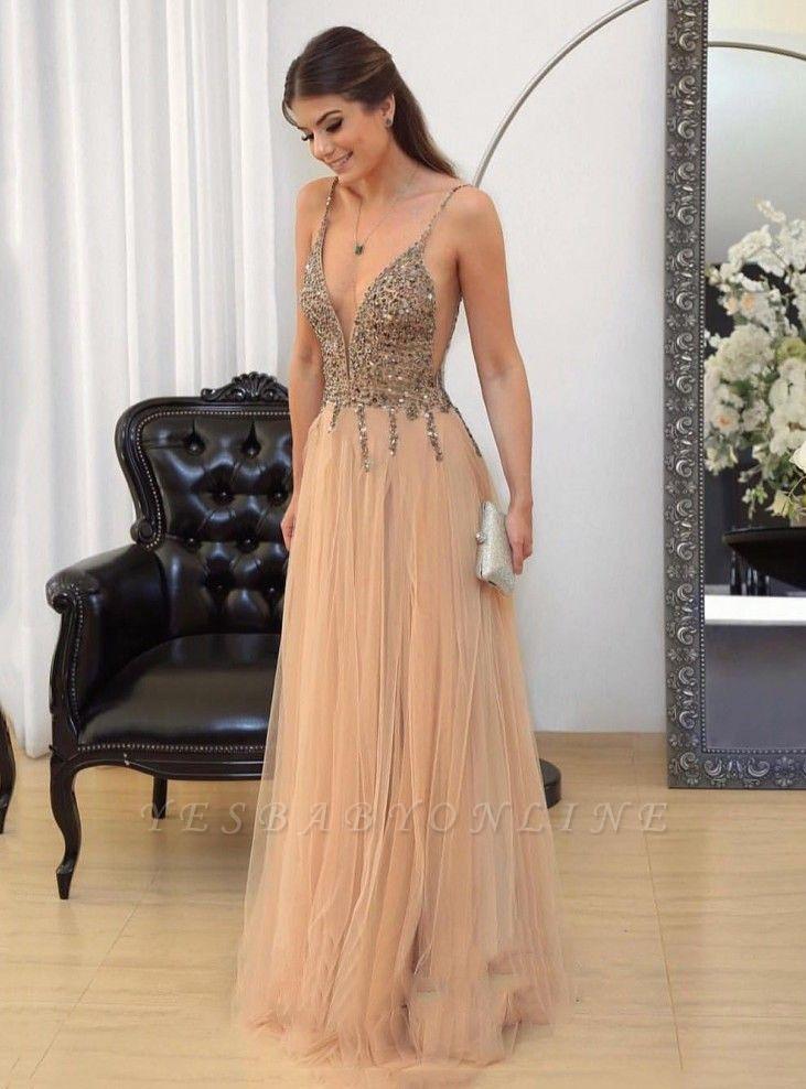 Floor-length Straps Sexy Spaghetti Long Prom Dresses