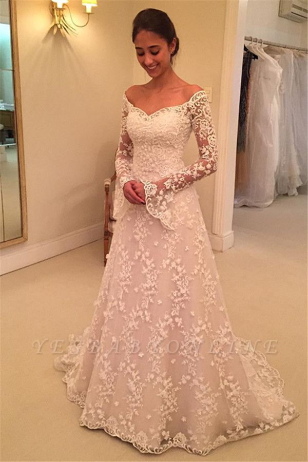 Buttons Long Sleevess Off-the-Shoulder A-Line Lace Appliques Wedding Dresses