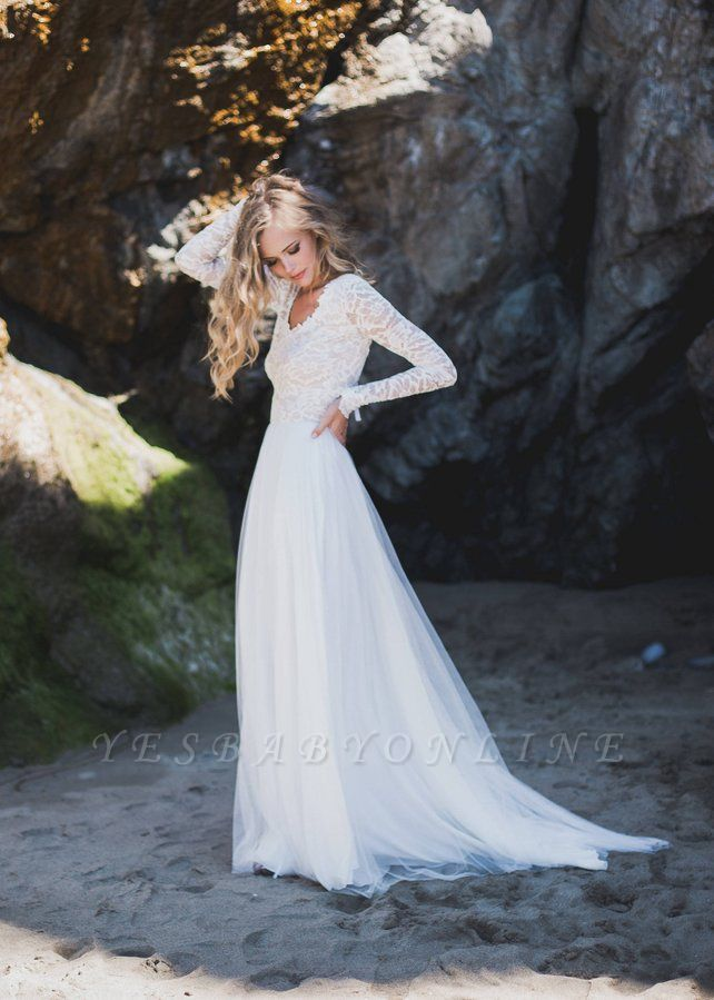 A-Line Chiffon Tulle Long Sleeve V-Neck Lace Wedding Dress