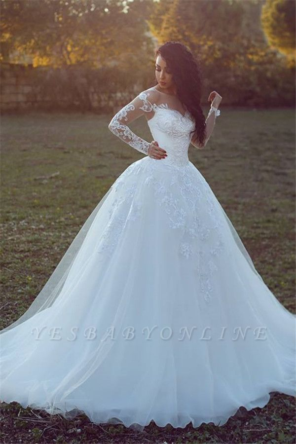 Tulle Glamorous Ball Gown Appliques Long Sleevess Wedding Dress